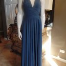 BCBG MAX AZRIA Blue Stretch Jersey Long Gown Dress XS