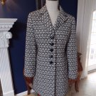 ANN TAYLOR Black/White Printed 3/4 Length Car Jacket Trench MP
