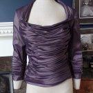 TADASHI  SHOJI Purple 3/4 Sleeve Ruched Taffeta Top Blouse Shirt 4