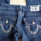 TRUE RELIGION Joey  Boot Cut Low Rise Logo Jeweled Pocket Jeans 24