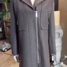 NWT KENNETH COLE Brown Wool Blend Zip Front 3/4 Length Car Jacket Coat 4