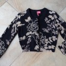 Charlotte Tarantola Cropped Black and Beige Floral Cardigan Sweater M