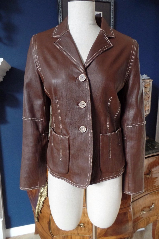 CABI Brown 100% Leather Button Front Jacket Blazer 8