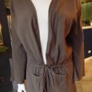 NWOT FRESH PRODUCE Brown Cotton Gaze Tie Front Cardigan Blouse Top Shirt XL