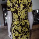 DIANE VON FURSTENBERG DVF Yellow/Brown Leaf Print Cotton Shirt Sheath Dress 4