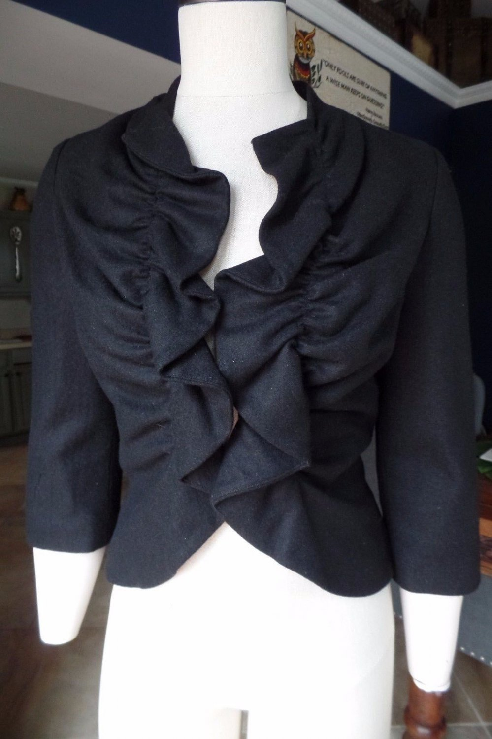 Anthropologie Tabitha Black Rouged Ruffled 3/4 Sleeve Jacket Blazer 4