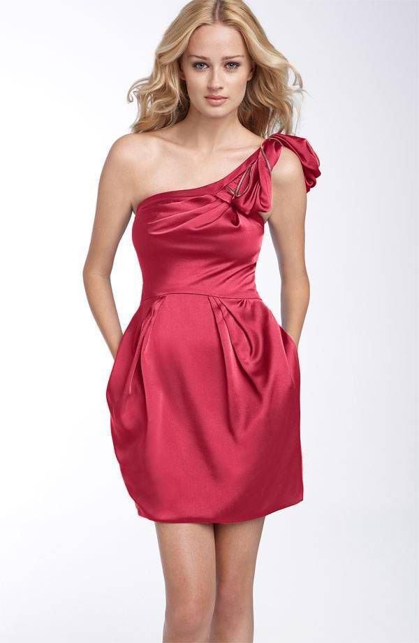 $248 BCBG Max Azria One Shoulder Satin Cocktail Dress 0 Azalea Pink