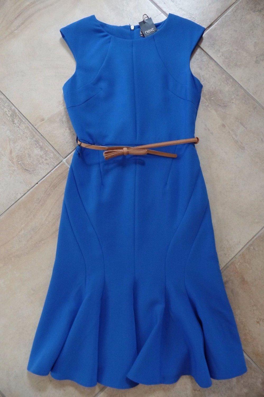 NWT NEXT Blue Belted Trumpet Skirt Ponte Sheath  Dress 8
