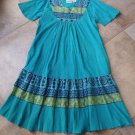 NWOT NATIONAL Teal 100% Cotton Mexican Shift Dress S