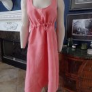 Eileen Fisher Coral 100% Linen Drawstring Empire Waist Shift Dress L