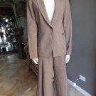 CLASSIQUES ENTIER Brown Classic Blazer And Gauchos Wide  Pant Suit 12/10