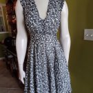 FRENCH CONNECTION Black/White Animal Print Fit & Flare Chiffon Sheath Dress 2