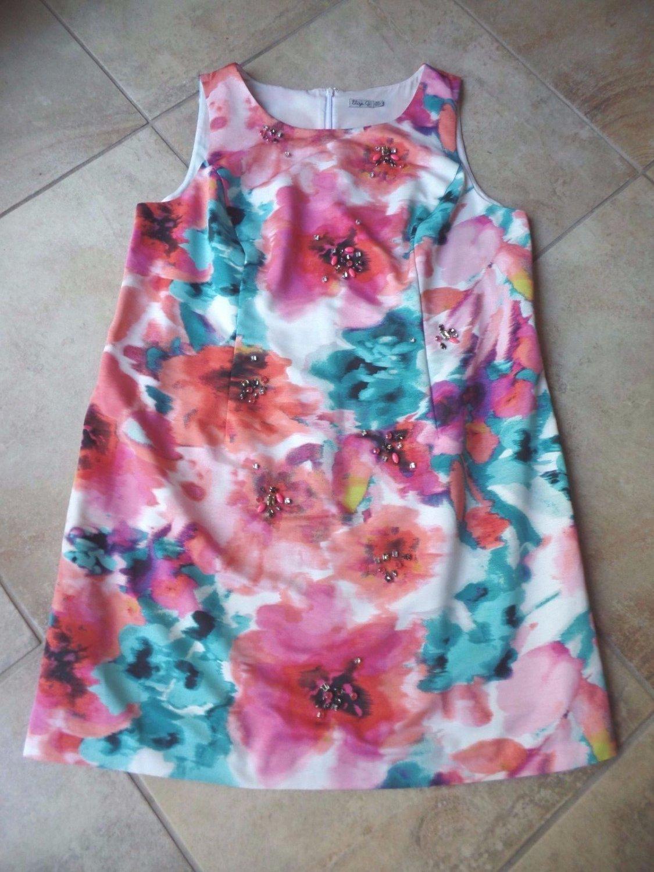 Eliza J Printed Sleeveless Watercolor Beaded Cocktail Shift Dress 18W