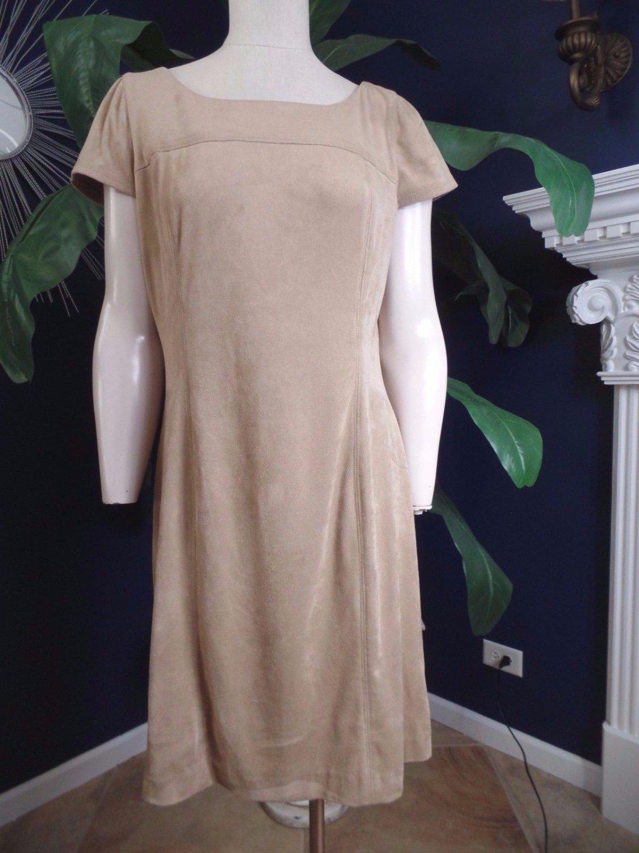 NANETTE LEPORE Beige Faux Suede Short Sleeve Shift Dress 14