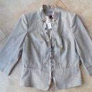 NWT WHITE HOUSE BLACK MARKET Beige Ruffled  Peplum Jacket Blazer 12