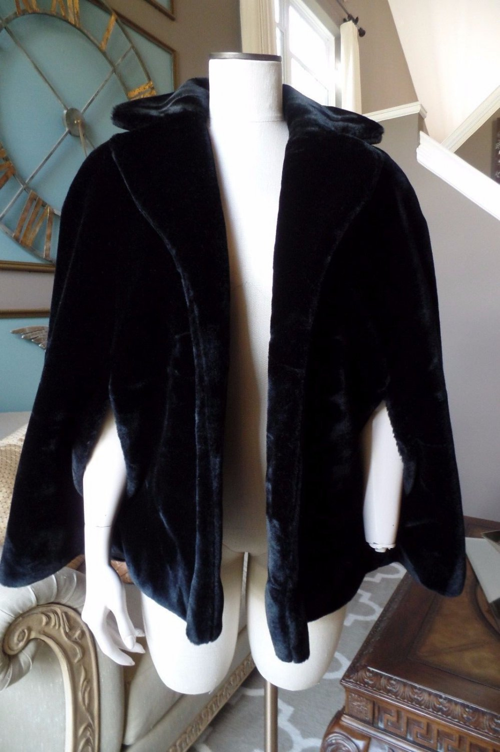 Vintage Black Faux Fur Cape Jacket M/L