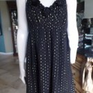 NWT $ 128 ECI Black/Gold Empire Waist Fit & Flare Sheath Dress 14