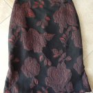 ANN TAYLOR Red/Black Floral Brocade  Straight Pencil Skirt 6