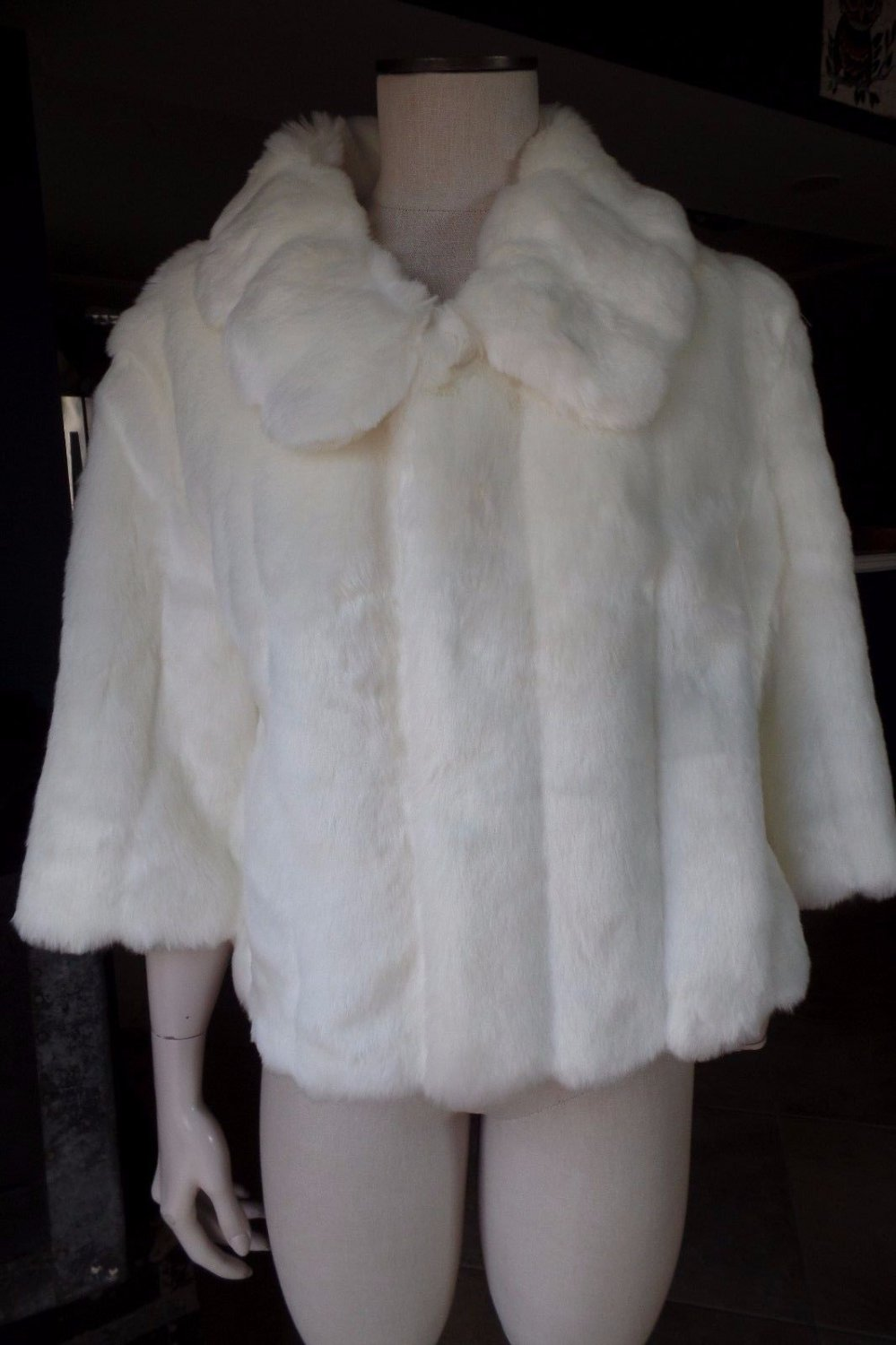 CALVIN KLEIN Off White Cropped 3/4 Sleeve Faux Fur Coat Jacket M