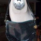BRAHMIN Forest Green Snake embossed Ruffled leather Mini bag purse