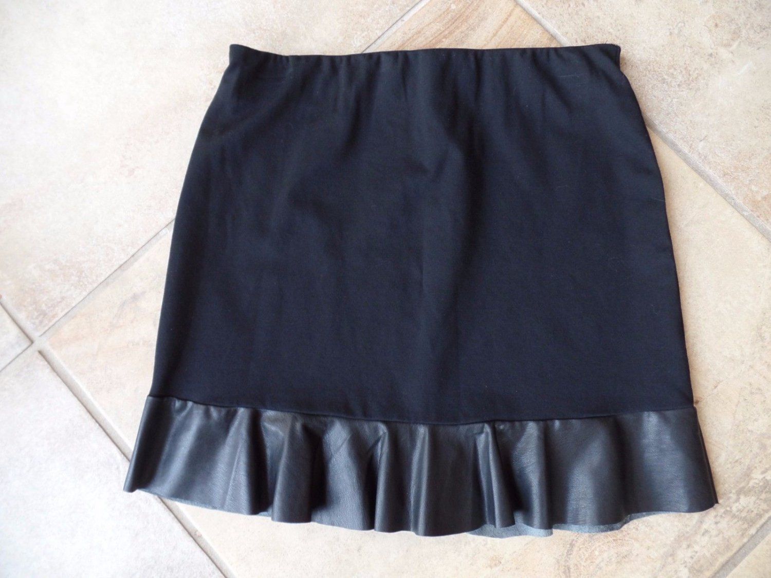 WILLIAM RAST Black Ponte Leather Trim Trumpet Hem Pencil  mini Skirt  S