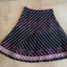 ANTHROPOLOGIE H.E. Black Striped Embroidered 100% Cotton A Line Skirt 4P
