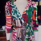 Diane von Furstenberg Vintage 100% Silk Jersey JILL Wrap Top Iconic DVF Prints 4