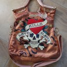 ED HARDY TANYA LARGE SATCHEL COPPER  HANDBAG