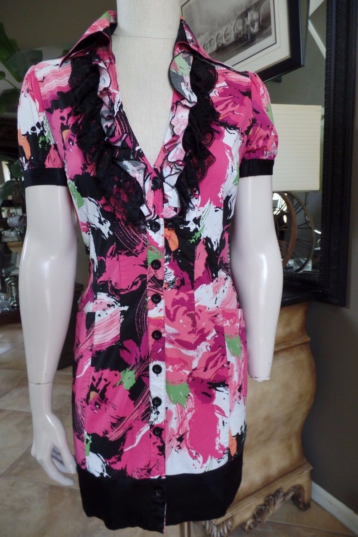 BEBE Print Button Front Ruffle Detail Short sleeves Shirt Dress M