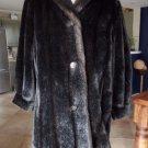 Vintage HILLMOOR Brown Swing Faux Fur 3/4 Length Jacket Coat M/L