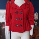 ANTHROPOLOGIE FLOREAT Red Peplum 3/4 Sleeve 100%  Cotton Jacket Blazer 4