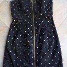 NWT $318 BETSEY JOHNSON Black Studded Zip Front Mini Sheath Dress 4
