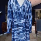 CATHERINE MALANDRINO Blue Printed Long sleeve Faux Wrap Sheath Dress 6
