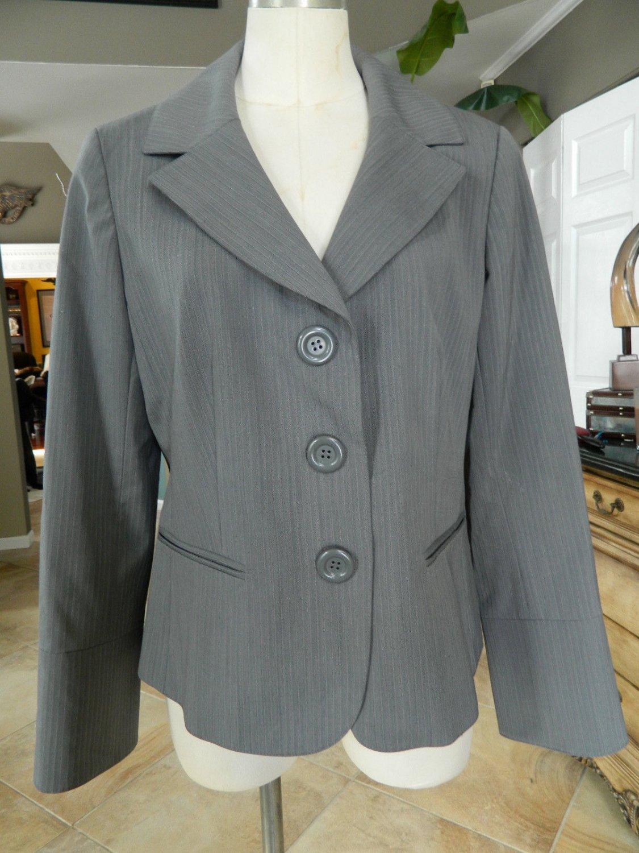 LAFAYETTE 148 NEW YORK PETITES Gray Striped Classic Jacket Blazer 12
