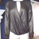 NWT Chelsea28 Metallic Long Sleeve Faux Wrap  Shirt Blouse XS