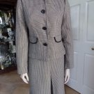 ANN TAYLOR LOFT Black And White Checked 100% Cotton Blazer And Skirt Suit 6