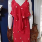 Amanda Uprichard Red Polka Dot Ruffled 100% Silk Tank Sheath  Dress XS