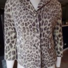 Talbots Velvet  100% Cotton Leopard Print 3/4 Sleeve Jacket Blazer 4