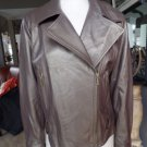PRESTON & YORK Bronw Metallic  Zip Front Moto 100% Leather Soft Jacket L