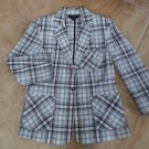 TALBOTS Plaid Cotton Button Front Blazer Jacket 8
