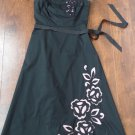 EXPRESS Black Embroidered Empire Waist Fit & Flare Sheath Dress 6