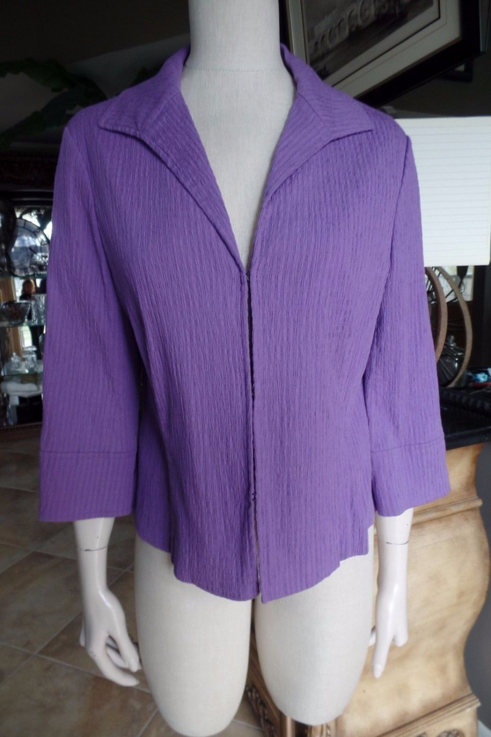 LAFAYETTE 148 NEW YORK  Purple Textured Hook Front Cotton Blend  Jacket Blazer 4