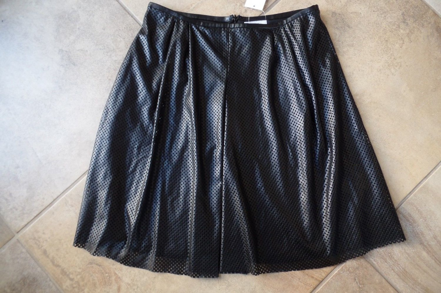 NWT CALVIN KLEIN  Black Perforated Faux Leather A Line  Skirt 10