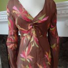 JEROME L HUILLIEER 100% Silk Semi Sheer Tunic Top Shirt Blouse 44