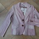 NWT CABI Striped Long Sleeve  Cotton Blend Captains Jacket Blazer 10