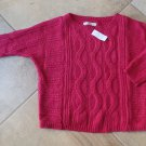 NWT ANN TAYLOR Loft Pink Cable Knit Cotton Blend Long Sleeve Sweater XS loose