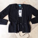 NWT  FLYO Black 100% cashmere Button Front Cardigan Sweater S