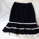 NANETTE LEPORE Black Velvet Embroidered Lace Trim A Line Skirt 4