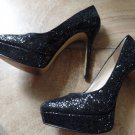 Nine West ForTonight Black Shimmer Platform Stiletto's 8.5 M Plumps