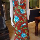 NWT VINTAGE ISLAND FASHIONS Floral Printed Halter Maxi Patio Dress M